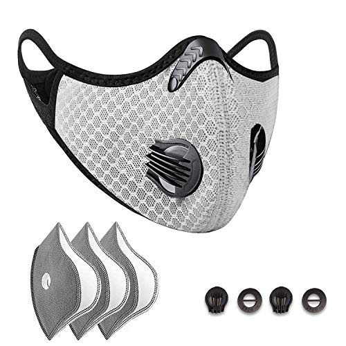 Filters Reusable Anti Dust Unisex Mouth Face Filter Replacement Breathable Earloop Anti Smoke Pollution Pollen for Outdoor Cycling,Sports,Running,Silver