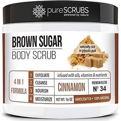 pureSCRUBS Premium Brown Sugar Body Scrub Exfoliation Set - Large 16oz Body & Face Scrub - Infused Organic Essential Oils & Nutrients + Wooden Stirring Spoon + Loofah + Organic Exfoliating
