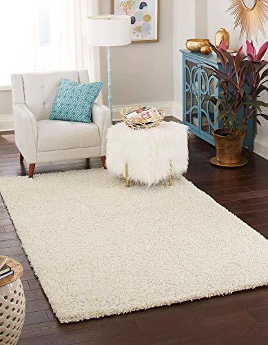 Unique Loom Solo Solid Shag Collection Modern Plush Pure Ivory Area Rug (7' 0 x 10' 0) Connecticut