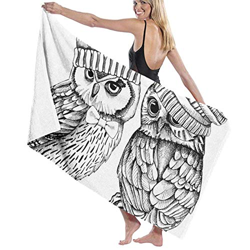 XCNGG Cute Hand Drawn Elf Owl The Bath Towel Five Star Hotel Quality .Premium Collection Bathroom Towel.Soft,Plush and Highly Absorbent (1 Bath Towel 31x59 Inches)