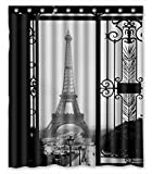 FMSHPON Paris Eiffel Tower Black Art Door Waterproof Fabric Bathroom Shower Curtain Size 60x72 inches