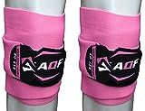 AQF Ginocchiere per Sollevamento Pesi Bendaggio Altamente Resistenti Elasticizzate Cinghie di Mantenimento Protezione Powerlifting, Squatting (Rosa)