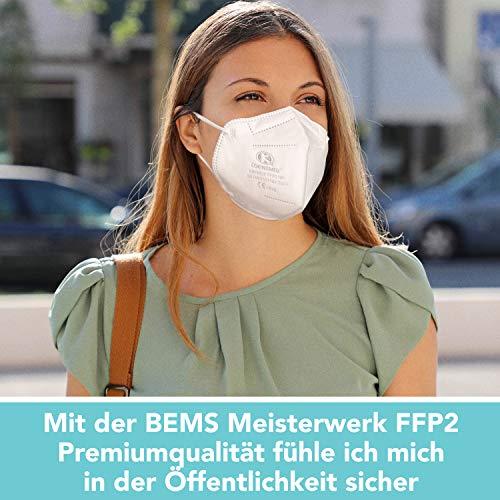 FFP2 Maske CE Zertifiziert - 20x FFP2 Masken (NR) - Inkl. Clip für höchsten 5-lagige Premium Atemschutzmaske FFP2 ohne Ventil für maximale Sicherheit - Mundschutz FFP2 BEMS Meisterwerk - 5