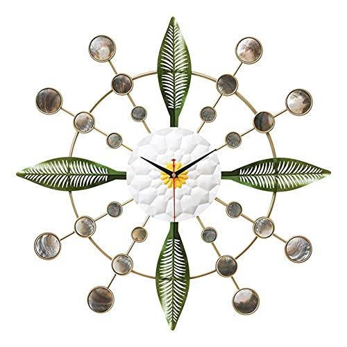 236 inch natuurlijke schelpen decoratieve wandklok stille niet-tikkende ronde klassieke metalen klok op batterijen voor woonkamer keuken thuiskantoor