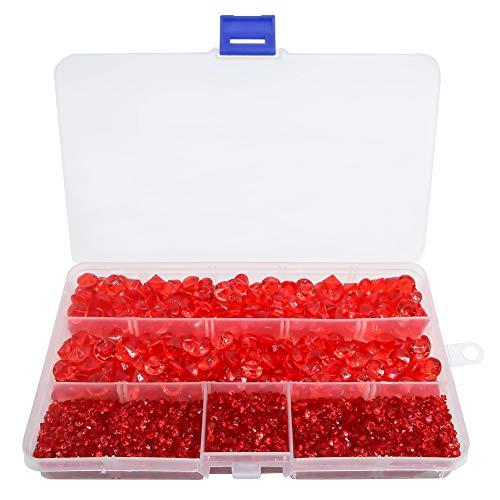 TOAOB 5300pcs Cristaux en Forme de Diamants Transparent Acrylique Pierres de Strass Rouge 3mm 10mm pour Décoration de Table Mariage et Accessoires de fêtes Remplisseurs de Vase