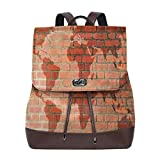 Women's Leather Backpack,Brick Wall with World Atlas Map Reflection Pattern Contemporary Artful Scene,School Travel Girls Ladies Rucksack
