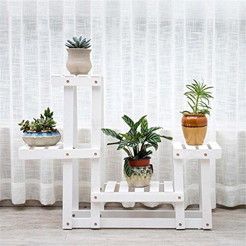 MENA HOME/Pare-chêne en bois massif Balcon Salon de fleurs Salon Étagère à fleurs Multi-couche Multi-Meat Étagère en pot à fleurs intérieures (Couleur : Blanc)