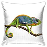 zhengchunleiX Taie d'oreiller Throw Cushion Cover Nature Animal Colorful Chameleon Throw Pillow Cover Square Throw Pillow Case
