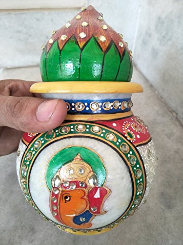 GREENTOUCH CRAFTS Antique Handmade Marble Pooja Kalash/Pot and Coconut, 7inch