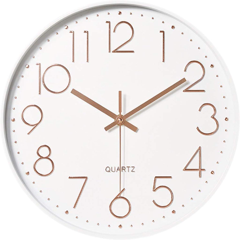 機構鮮やかな簡単にjustroots 壁掛け時計 おしゃれ 掛け時計 静音 サイレント 無音 クオーツ 30cm 壁掛け用フック付き (ホワイトゴールド)