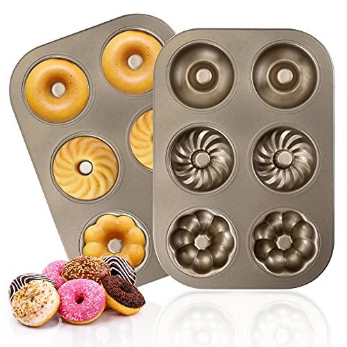 Donut Baking Pans, Non Stick 6 Cavity Doughnut Pan BPA Free Donut Molds for Baking, 2 Count
