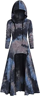 Ladies Casual Tunic Tie Dye Hooded Long Sleeve T Shirt
