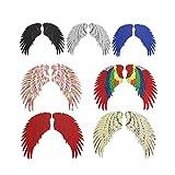 Parches de planchado Abwan, 7 pares de alas para manualidades, apliques adhesivos en la ropa, parche para planchar sobre la camiseta para coser en vestidos, jeans, bolsos, chaquetas, mochilas, large