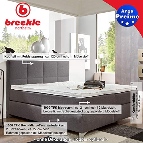 Breckle Boxspringbett Arga Preime inkl. Gel-Topper TOP 3700   In Anthrazit   180 x 200 cm oder in allen anderen Größen erhältlich