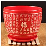 Ceramic Pure Red Home/Garden Flower Planter Pot with Saucer Tray for Wedding - Outside Chinese Characters Meaning Fortune