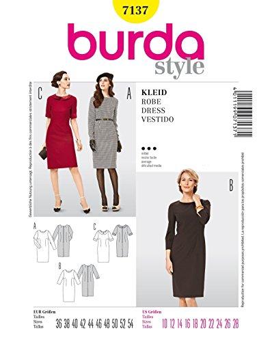 Burda Schnittmuster 7137 Kleid - Shiftkleid,Vestido - Cambio de Vestir Gr. 36-54