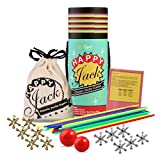 Jacks Game with Ball and Wooden Pick-Up Sticks Gift Set with 12 Pieces Gold and Silver Metal Jacks...