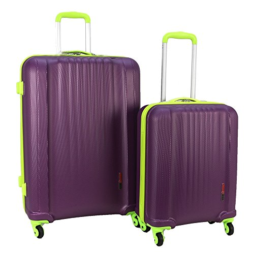 Swiss Case 4 Wheel Spinner EZ2C 2Pc Strong ABS Suitcase/Luggage Set Purple/Lime