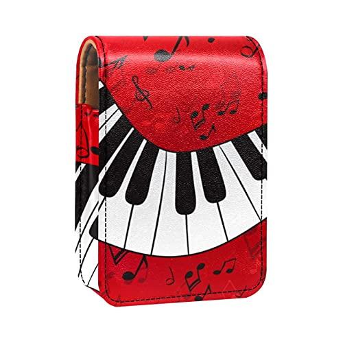 Custodia per rossetto portatile con coperchio,Sfondo di pianoforte e spartito