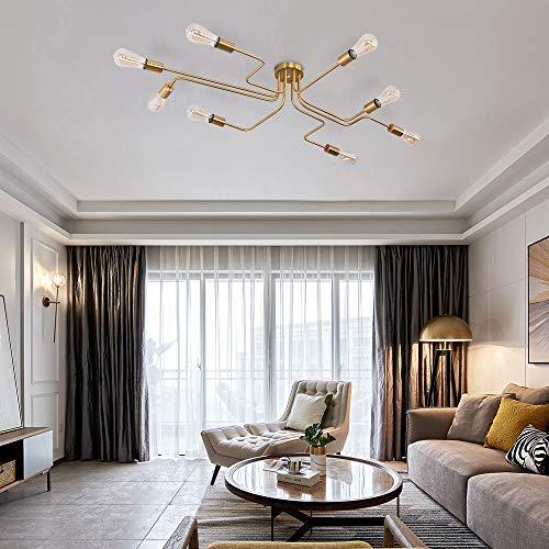Lingkai Vintage Deckenlampe Industrie Kronleuchter Moderne Pendelleuchte mit E27 Lampenfassungen für Wohnzimmer Schlafzimmer Esszimmer Restaurant Gold