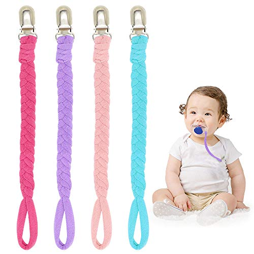 Braided Pacifier Clips for Girls - 4 Pack Hand-Made Pacifier Leashes, Flexible Baby Teething Ring Holders for All Pacifiers, Teether Toys, Soothie (Rose Red/Pink/Purple/Light Blue)