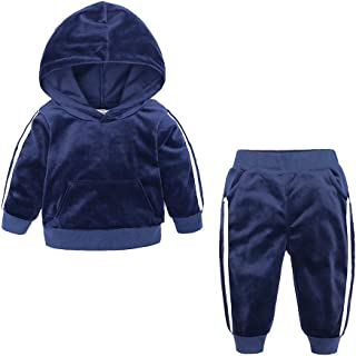 Boys Girls 2Pcs Velvet Hooded Tracksuit Top + Sweatpants Outfits Set(12M-8T)