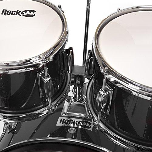 RockJam Complete 5-Piece Junior Drum Set with Cymbals, Drumsticks, Adjustable Throne and Accessories, Black, inch (RJ105-BK)