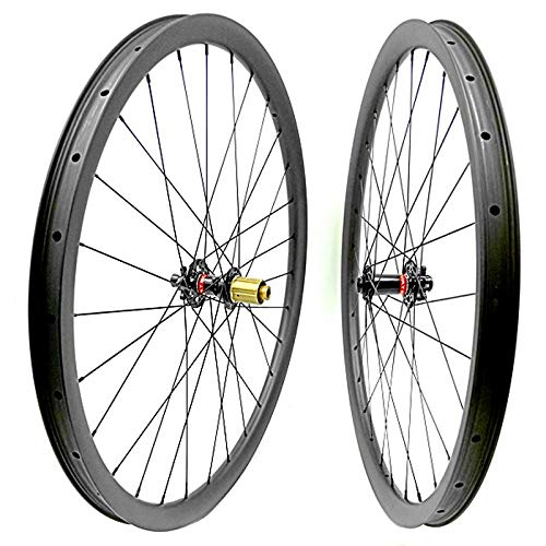 no brand Carbon VTT Disc Roues 29er VTT Roue VTT Vélo 35x25mm Tubeless Vélo de Montagne Boost 110x15 148x12 Roues VTT (Color : 100x15 142x12 S)