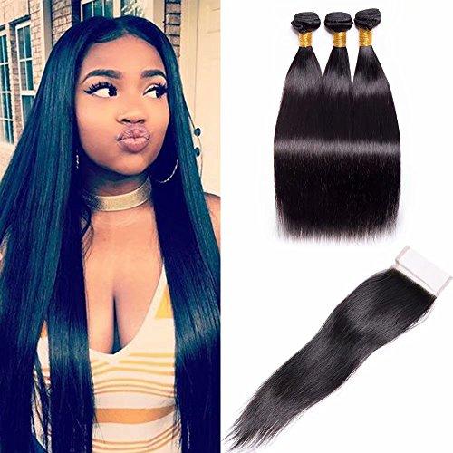 Maxine Malaysian Virgin Hair Straight 3 Bundles with Closure Unprocessed Human Hair Bundles Straight Malaysian Hair Extensions with Lace Closure (16 1
