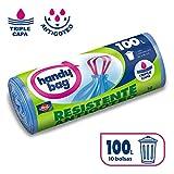 Handy Bag Bolsas de basura antibacterias, 100 l, resistentes, autocierre, antigoteo, 10 unidades
