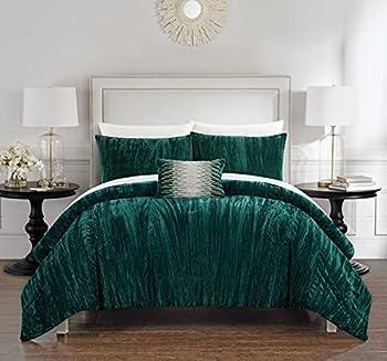Chic Home Westmont 4 Piece Comforter Set Crinkle Crushed Velvet Bedding-Decorative Pillow Shams Included King Green