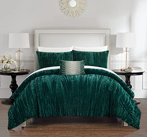 Chic Home Westmont 4 Piece Comforter Set Crinkle Crushed Velvet Bedding-Decorative Pillow Shams Included, Queen, Green