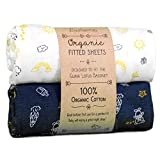 Luvberries 100% Organic Cotton Bassinet Sheets (Set of 2) for The Guava Lotus Travel Bassinet - Baby and Newborn, Fitted Bassinet Sheets, for Boys & Girls (Day and Night)