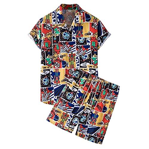 Casuales Camisas Hombre Moderno Urbano Holgado Cuello V Hombre Camiseta Verano Botón Placket Bolsillo Lazada Manga Corta Set Casual Cómodo Hombre Shirt TZ76 3XL