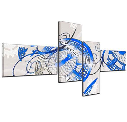 Bilderdepot24 Immagine su tela 'astratto arte astratto tempo 08a' blue - 140x65cm 4 pezzi - incorniciato direttamente dal produttore, intelaiata e pronta da appendere