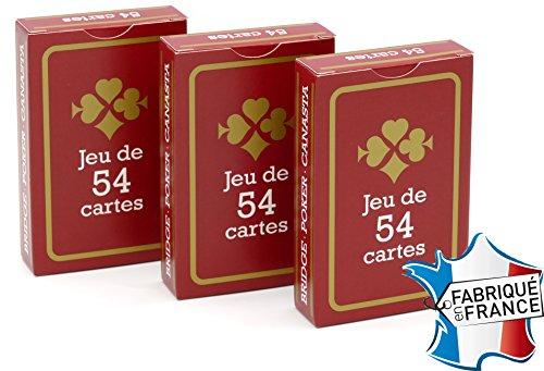 FRANCE CARTES - Jeu de 54 Cartes - Gauloise Rouge - Lot de 3