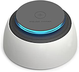 Wireless Charger Bluetooth Speaker 2-in-1, Portable Bluetooth 4.2 Advanced Stereo with LED, Compatible with Qi Smartphones with Wireless Charging Built-in Functions Such as iPhone X/8/8 Plus