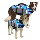 MAZORT Dog Life Jacket, Camouflage Lifesaver Vest, Reflective & Adjustable Preserver with Rescue Handle for Swimming Boating & Canoeing (Blue, Medium)