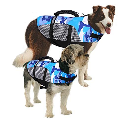 MAZORT Dog Life Jacket Camouflage Lifesaver Vest Reflective & Adjustable Preserver with Rescue...