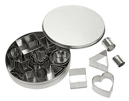 24 Piece Metal Fondant Cutter Molds with Hearts, Stars, Flowers and Geometric Shapes