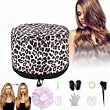 110V Hair Care Hat,Hair SPA Cap,Hair Care Steamer Cap,Thermal Hair Cap,Waterproof Home Hair Thermal Care Electric Hair Treatment Beauty Steamer Perfect for Family Personal Care (Leopard)
