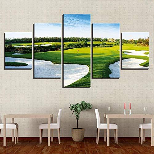 QWASD Cuadro sobre Lienzo,Impresiones En Lienzo,Cuadro En Lienzo 5 Pieza Impresión Lienzo Artística Pintura Diseño Cuadro Moderno Pared Gráfica Campo De Golf 150×80 Cm HD Impreso Mural (Enmarcado)