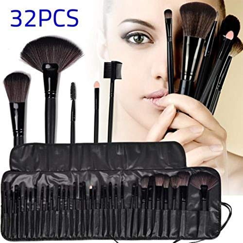 MEISINI Make Up Brushes Profissional Of Makeup Brush Set Eye Brush Foundation Eyeshadow Powder Eyebrow Eyeliner Lip Black Pu Bag, As Picture Show
