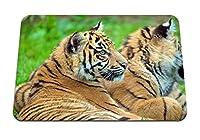 26cmx21cm マウスパッド (タイガースカップルカブス嘘) パターンカスタムの マウスパッド