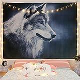 Wandteppich Porträt eines mächtigen und gutaussehenden Wolfes, Tapestry Modernster Digitaldruck Technologie, Wandbehang Wandteppich Tapestry Psychedelisch schöne Naturlandschaft Mit LED-Sternlichtern