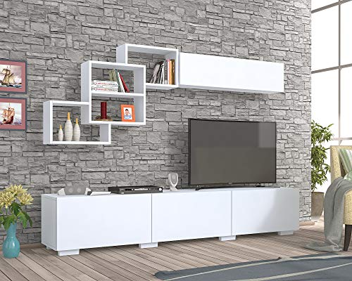 Parete attrezzata Bianca 210 cm con 3 ribalte e pensili a Vista - Moderna Elegante Mobile TV Salotto Salone Soggiorno