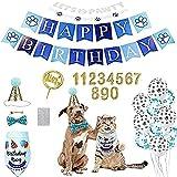 Ubaywey 29 PCS Set de Cumpleaños para Perro Decoracion de Cumpleaños para Perros Sombrero Pañuelo Banner de Cumpleaños para Perros Regalo Set de Cumpleaños para Mascotas (Azul)