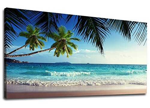 yearainn Large Canvas Wall Art Summer Ocean Waves Coconut Trees on Sands Beach Seascape Scenery Painting Long Canvas Artwork Sea Contemporary Nature Picture for Home Office Wall Decor 24' x 48'
