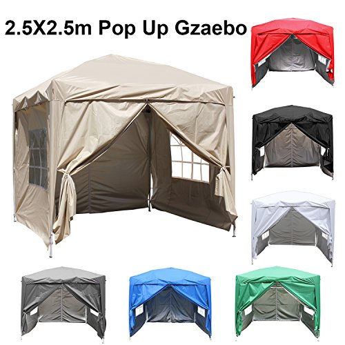 Greenbay 2.5M x 2.5M Foldable Pop up Gazebo Sun Protection Event Outdoor Tent With Four Side Panels (Two with Windows) - Beige