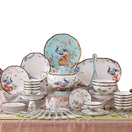 QBLDX 68-Piece Ceramic Tableware Set, High-end Hand-Painted Dishes and Bone China Dinner Set, Handmade in Jingdezhen, China, Soup Pot, Saucepan, Spoon, Dinnerware, Packaging(Color:B)